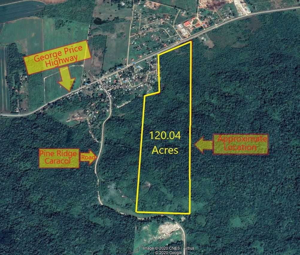 CY103: 120 Acres of Prime Highway Property adjacent to Georgeville Village, Cayo! Cayo Farmland For Sale! Buy Real Estate in Cayo! Cayo Real Estate for Sale!