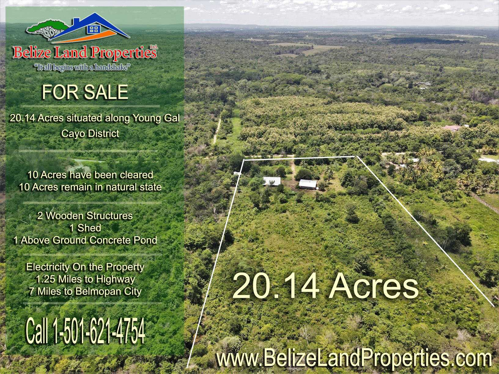 CY106: 20.14 Acres Belize Real Estate For Sale along Young Gal Road, Cayo District! Land in Cayo for Sale in Belize! Farmland for sale in Belize!