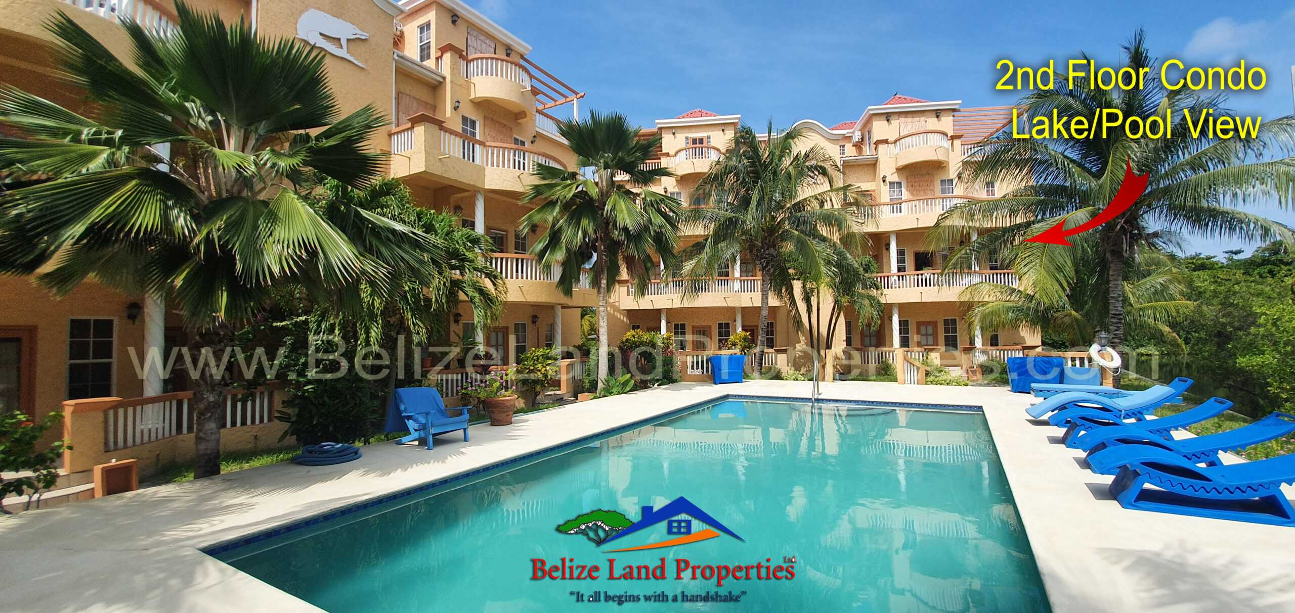 A21: 2 Bedroom Condo with 2 Baths Lake/Pool View at Ambergris Lake Villas, Ambergris Caye! San Pedro Real Estate For Sale! Belize Real Estate in San Pedro Ambergris