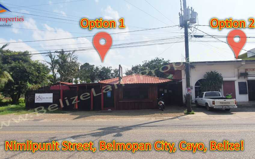 CY108: UNDER CONTRACT!  Option 1-1 Prime Commercial Property with small wooden structure for sale on Nimlipunit Street in Belmopan City, Cayo!