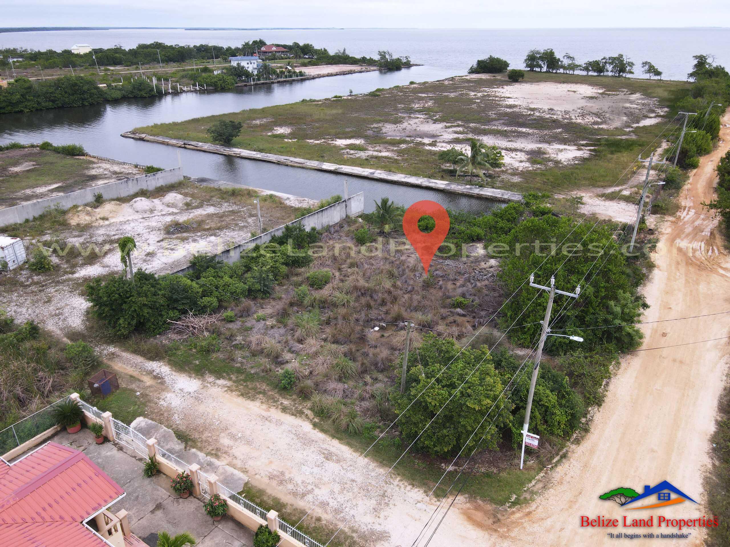 BZ160: Large Corner Canal Front Lot Near the Sea In Vista Del Mar, Ladyville, Belize! Belize Real Estate For Sale!