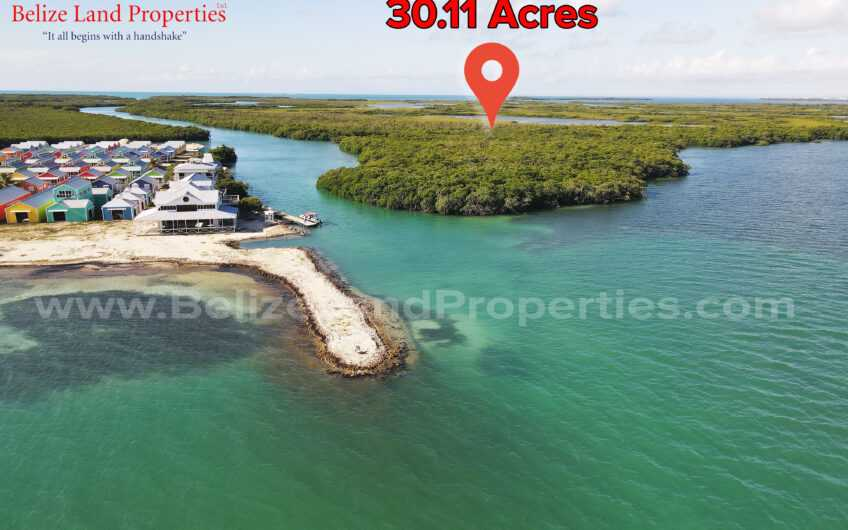 I16: 30.11 Acres of Prime Island Property 7 Miles NE of Stake Bank Cruise Ship! Island Property in Belize for Sale!