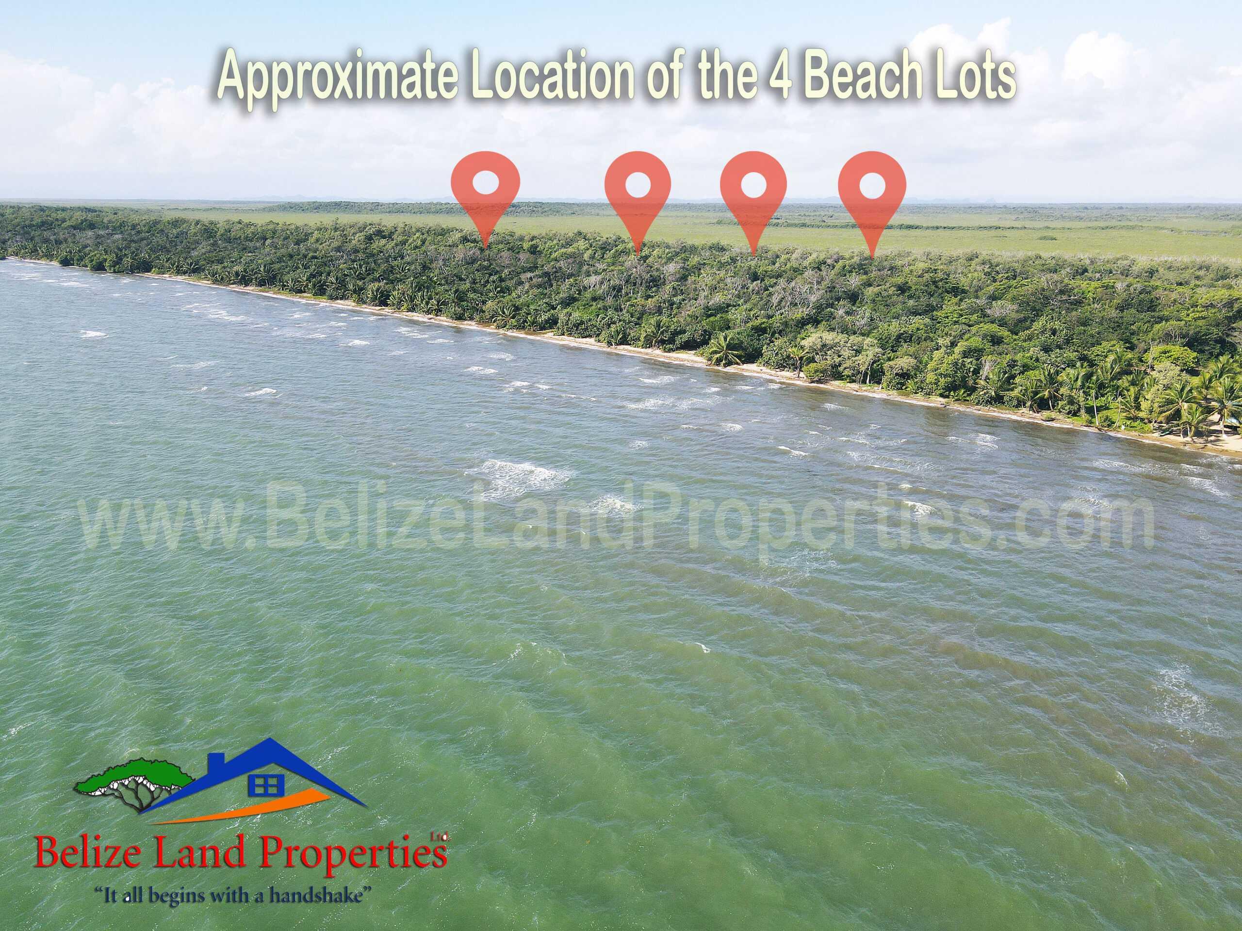 BZ153: 4 Beachfront Lots North of Sibun River, Belize District! Near 4 Cruise Ship Terminal!
