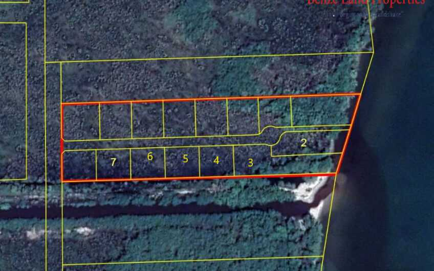 SC107: 2 Beachfront lots with 140 feet total frontage on Caribbean Sea with 4 adjacent Lots with a 15 foot easement to the Caribbean Sea! Belize Real Estate!